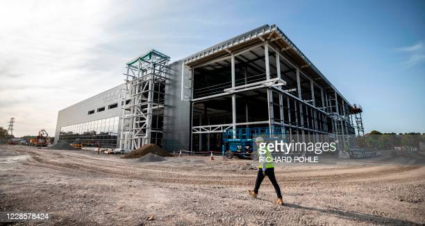 The construction site is seen of the new dedicated Vaccines Manufacturing Innovation Centre currently under construction on the Harwell science and...