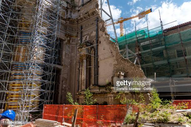 The construction site of the complex of Sant'Emidio in Piazza Duomo damaged by the 2009 earthquake historic in centre is the largest construction...