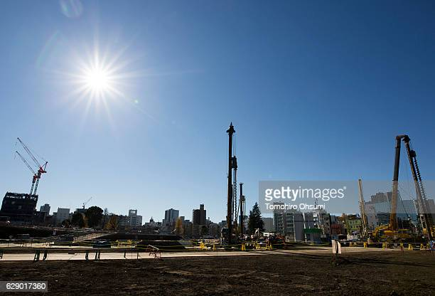 The construction site of the new National Stadium for the 2020 Tokyo Olympic and Paralympic Games is seen on December 11, 2016 in Tokyo, Japan.
