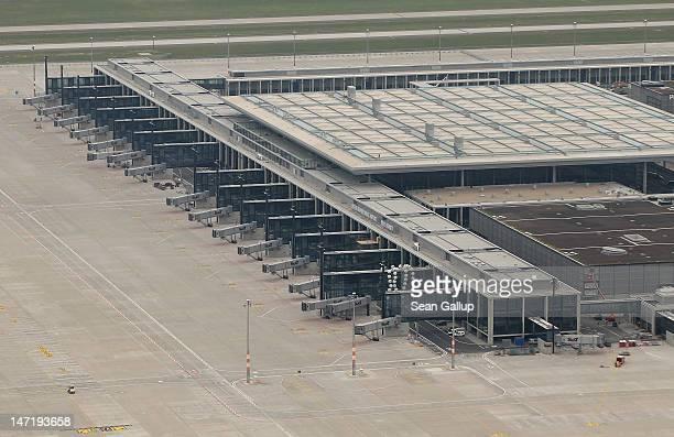 The construction site of the new Willy Brandt Berlin Brandenburg International Airport stands on June 27 2012 near Berlin Germany Originally...