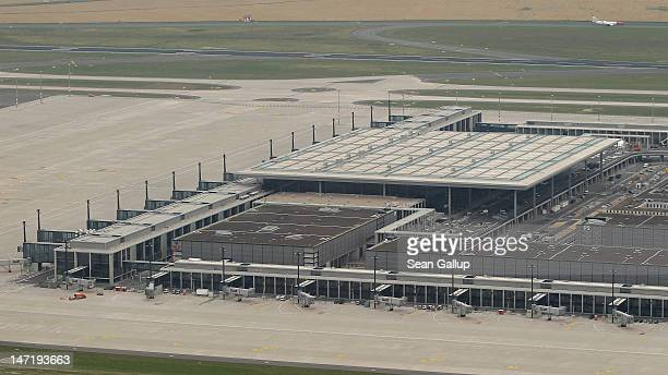 The construction site of the new Willy Brandt Berlin Brandenburg International Airport stands on June 27, 2012 near Berlin, Germany. Originally...