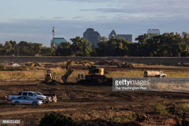 The construction site of the Southport setback levee is seen in West Sacramento CA on September 20 2017 The setback levee will help further protect...