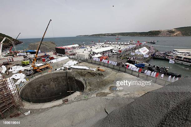The construction site of the third Bosphorus bridge is pictured during its opening ceremony on May 29 2013 in Istanbul Turkish Prime Minister Recep...