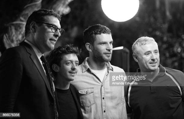 The Consul General of France in Los Angeles Christophe Lemoine actors Nahuel Perez Biscayart and Arnaud Valois and screenwriter Robin Campillo attend...