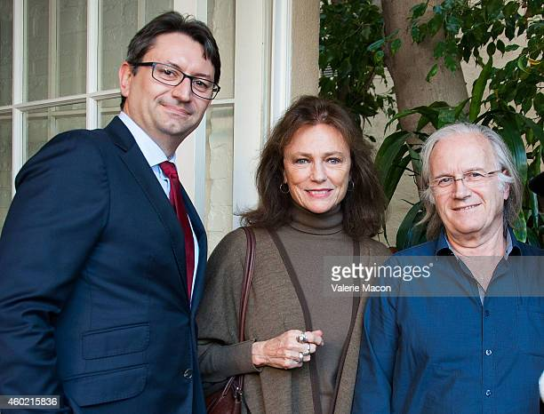 The Consul General Of France Mr Axel Cruau actress Jacqueline Bisset and Director Philippe Muyl attend the The Consul General Of France's Reception...