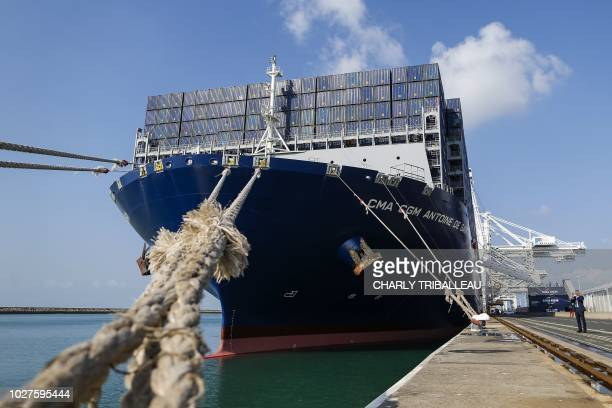 The container ship 'Antoine de Saint Exupery' operated by the French CMA CGM shipping company is pictured at the harbour in Le Havre northwestern...