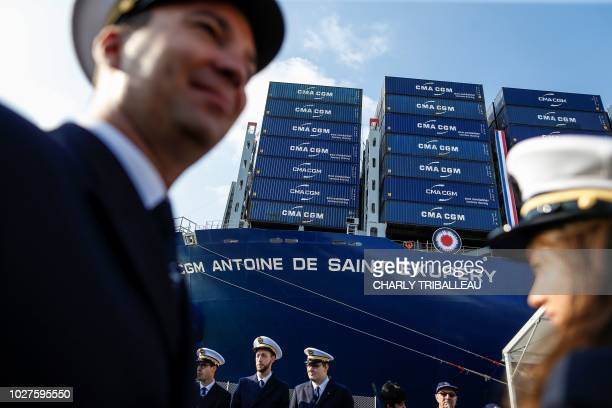 TOPSHOT The container ship 'Antoine de Saint Exupery' operated by the French CMA CGM shipping company is pictured at the harbour in Le Havre...