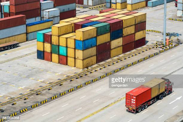 The container truck is running in Shanghai Yangshan deepwater port