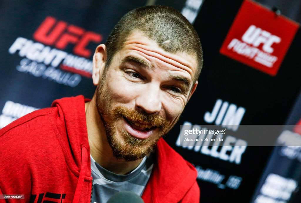 The contender Jim Miller speakes to the press during the Ultimate Media Day at the Matsubara Hotel for the UFC Fight Night Sao Paulo on October 26, 2017 in Sao Paulo, Brazil.