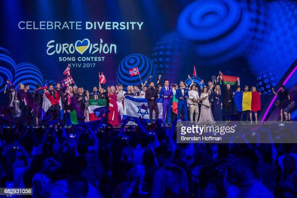 The contenstants from the second Eurovision semifinal that qualified for the Grand Final gather on the stage on May 12 2017 in Kiev Ukraine Ukraine...