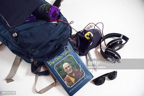 The contents of Bruce Poon Tip's backpack is photographed in his G Adventures Toronto office on September 1 2015 PUBLISHED IMAGE