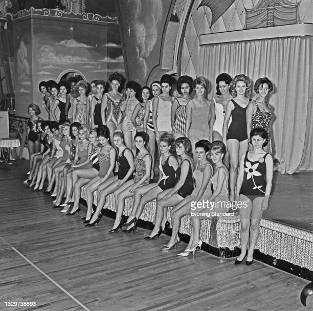 The contestants in the Miss World 1964 pageant at the Lyceum Ballroom in London, UK, 6th November 1964. The contest was held on the 12th November.