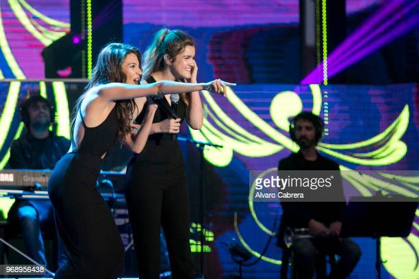 The contestants of OT 2017 Ana Guerra and Amaia perform during the 'Operación Triunfo' concert at Auditorio on June 1 2018 in Malaga Spain