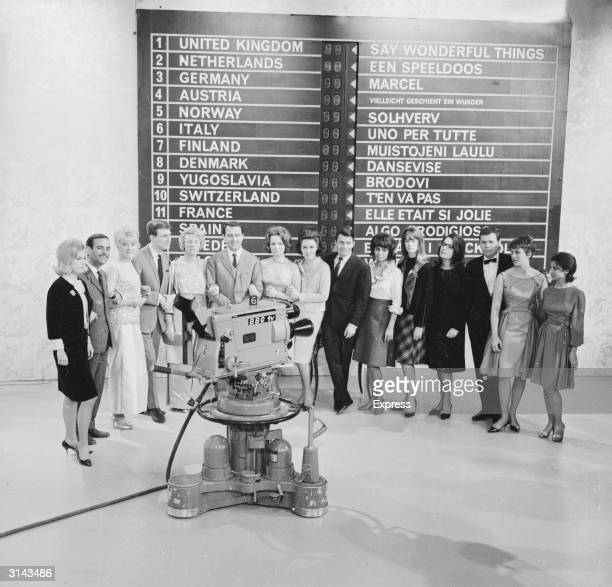 The contestants of the 1963 Eurovision Song Contest. From left to right, they are Heidi Bruhl of Germany, Jose Guardiola of Spain, Monica Zetterlund...