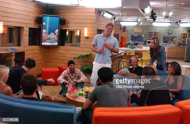 The contestants of the reality-TV series 'Big Brother 4' talk and drink in the Big Brother house during the premiere episode, Studio City, Los...