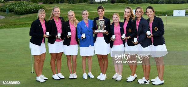 The Continent of Europe team celebrate winning the Vagliano Trophy at Golf Club Bogogno on July 1 2017 in Novara Italy