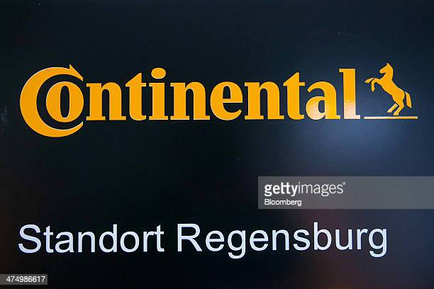 The Continental AG logo sits on display inside the company's automotive powertrain division factory in Regensburg Germany on Tuesday Feb 25 2014...