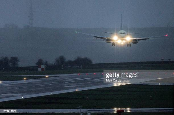 The Continental Airways Airlines flight from New York touches down at Bristol International Airport on January 8 2006 Lusgate England the first of...