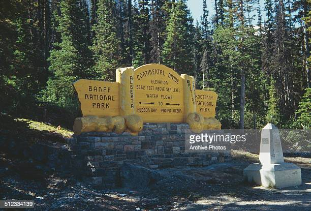 The Continental Divide between Banff National Park in Alberta and Kootenay National Park in British Columbia Canada circa 1960