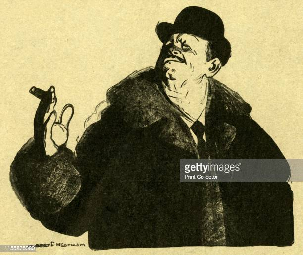 The Contractor' early 20th century Businessman in bowler hat holding a cigar Artist Albert Engstrom