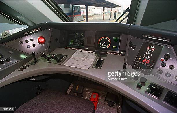 The control cab of the nation's first highspeed train Amtrak's Acela Express prior to its departure from Union Station November 16 2000 in Washington...