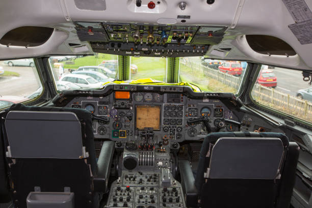 The control deck in the cabin of an old Trident airplane at Manchester airport, UK.