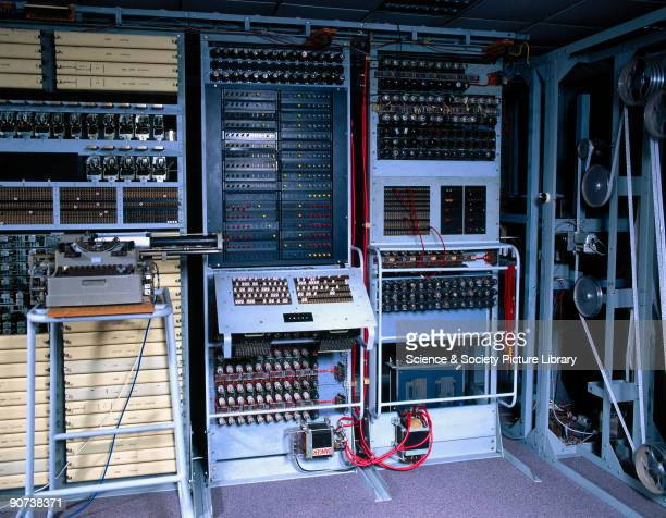 The control panel and pulleywheel system of the 'Colossus' computer at Bletchley Park in Buckinghamshire Bletchley Park was the British forces'...