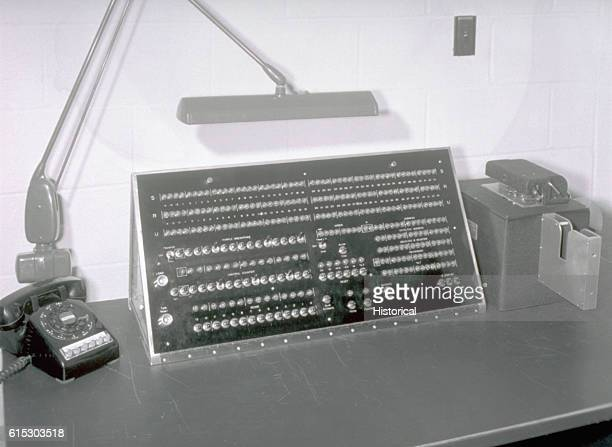 The control panel for the MANIAC computer allows the operator to input and initiate calculations particularly helpful to the complex field of nuclear...