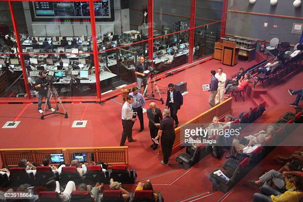 The control room from where VIP's watch the Ariane5 launch on October 5 2016 in Kourou French Guiana European countries decided to jointly house...