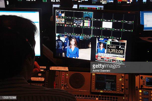 The control room is seen at FOX Business during the stock market opening a day after a 500 point sell off at FOX Studios on August 5 2011 in New York...