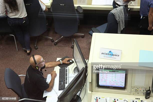 The control room of the Ariane5 rocket on October 5 2016 in Kourou French Guiana Interestingly the European countries decided to jointly house their...