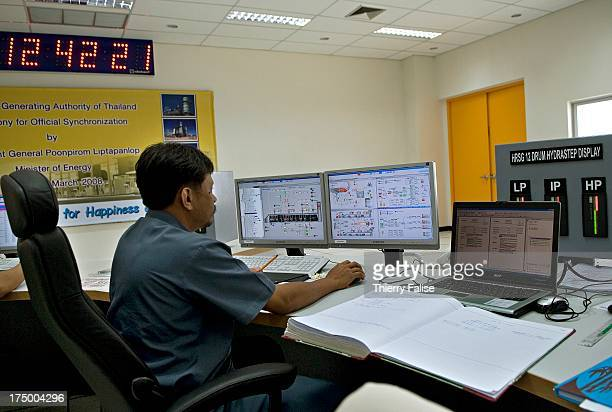 The control room of the Songhkla power plant in Chana district which will open in June 2008 The plant will be fired by natural gas supplied from...