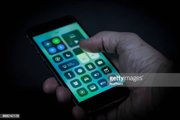 The control screen that is part of the new Apple iOS 11 operating system is seen on an iPhone in this photo illustration on October 29 2017