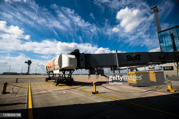 The control tower and an excercise module for the jet bridge are seen at Berlin Brandenburg Airport 'Willy Brandt' during a test run ahead of its...