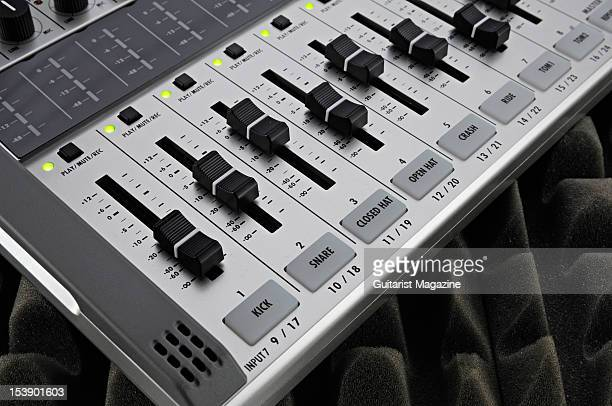 The controls of a Zoom R24 24track HD recording device during a studio shoot for Guitarist Magazine November 18 2010