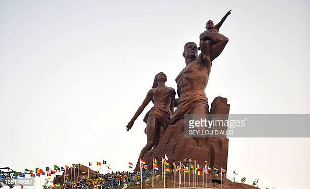 The controversial African Renaissance Monument to mark Senegal's 50 years of independence is pictured during its inauguration ceremony on April 3...