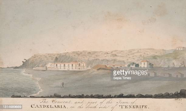 The Convent and Part of the Town of Candelaria, on the south side of Tenerife, Alfred Diston, active 1818–1829 Watercolor, pen and black ink and...