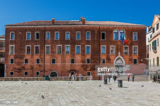 the convent of santo stefano in venice, italy - campo santo stefano stock pictures, royalty-free photos & images