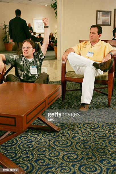 THE OFFICE The Convention Episode 2 Aired Pictured Rainn Wilson as Dwight Schrute and Steve Carell as Michael Scott