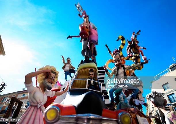 The Convento de Jerusalen falla is pictured during the Fallas festival in Valencia on March 16 2019 Fallas are gigantic structures made of cardboard...