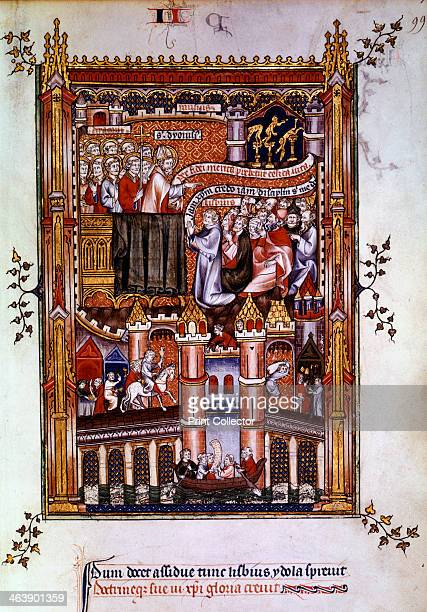 The conversion of Lisbius 1317 St Denis preaches and Lisbius is converted to Christianity Manuscript illustration from a work on the life of St Denis...