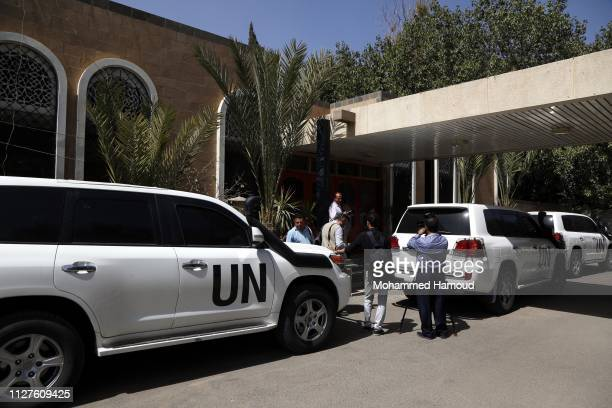 The convoy of Danish Major General Michael Anker Lollesgaard newly UN appointed as a head of the team tasked with monitoring a ceasefire in Yemen's...