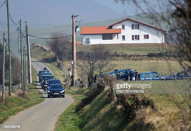The convoy of France's President and Union for a Popular Movement party candidate for 2012 presidential election Nicolas Sarkozy arrives to visit a...