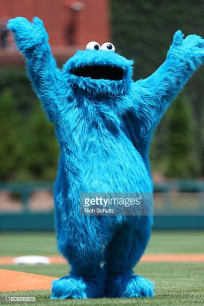 The Cookie Monster from Sesame Street before a game between the Miami Marlins and Philadelphia Phillies at Citizens Bank Park on June 23, 2019 in...