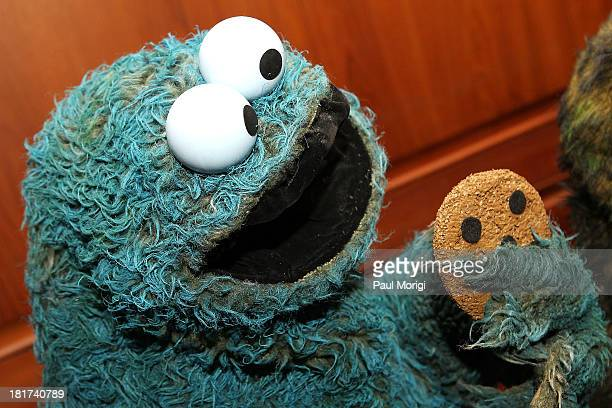 The Cookie Monster on display at a special National Museum of American History ceremony to receive more than 20 puppets and props from the Henson...
