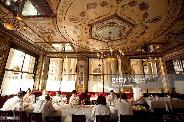 the cooking staff lunch - le grand vefour restaurant, paris - palais royal stock pictures, royalty-free photos & images