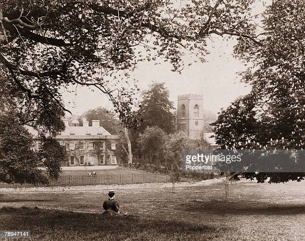 The Cooper Collection Circa 1900's Northampton Town England Abington Park with Manor and Church