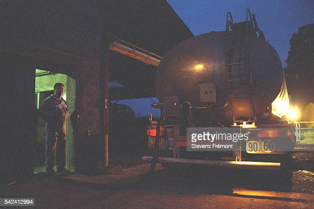 The Cooperative's tanker comes to collect the milk at dawn every other day