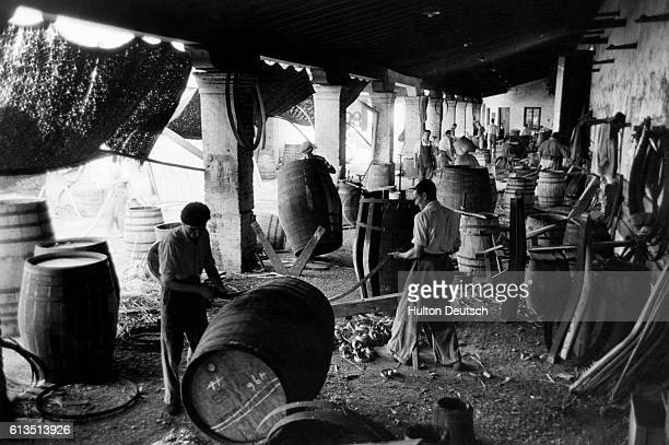 The coopers yard on the Gonzalez Byass estate Men skillfully manufacture barrels in preparation for the young sherry CA February 27 Jerez de la...