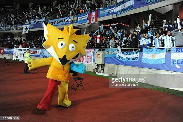 The Copa America 2015 mascot Cincha before the start of the Argentina vs Uruguay football match in La Serena Coquimbo Chile on June 16 2015 AFP...
